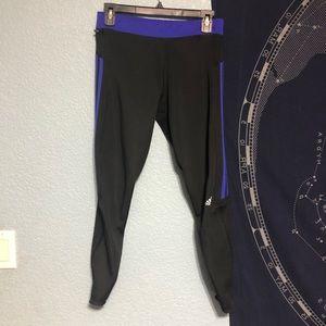 Adidas Black Blue 3 Stripe Athletic leggings